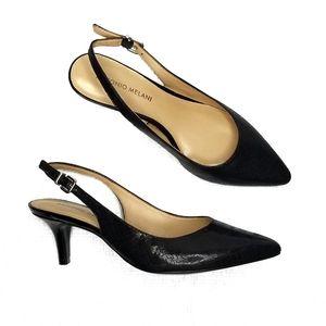 Antonio Melani Orlenne Black Leather Sling Heel